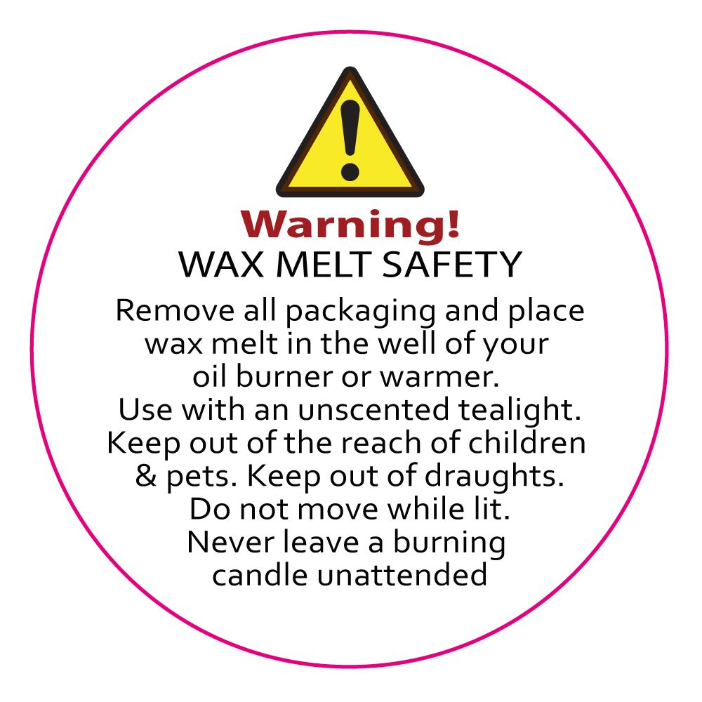 Wax Melt Safety/ Warning Labels x 30mm diameter